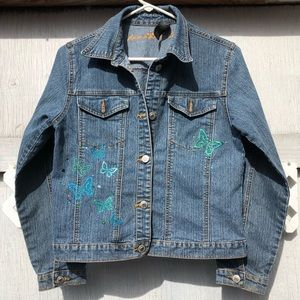 Arizona jeans jacket embroidered bling butterflies